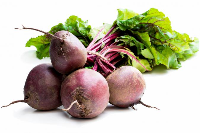 Bundle of beets with one stack on top